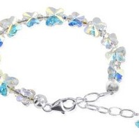 SCBR211 Sterling Silver 925 Butterfly Clear AB Swarovski Elements Crystal Bracelet 5.5 - 7 inch