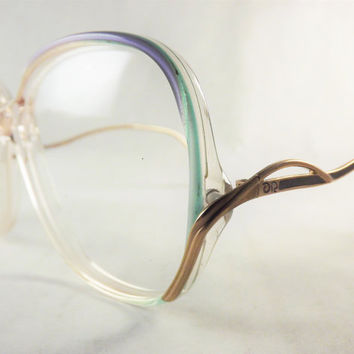 Big Eyeglasses, Womens Big Green Blue and  Gold Frames, Fun Vintage Glasses, Designer Oscar De La Renta 1980's Eyeglasses