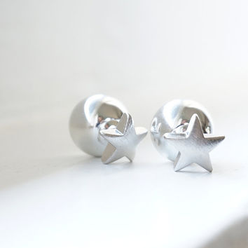 Double Sided Earrings Gold or Silver Star and Ball Double Sided Stud Earrings Front Back Earrings Christmas Gift Idea