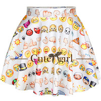 Fashion Ladies Emoji High-waisted Vintage Inspired Skirt Mini Skirt