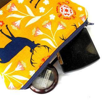 Blue Stag Makeup Accessory Bag - Deer Yellow Make Up Accessories Bag Pouch Clutch