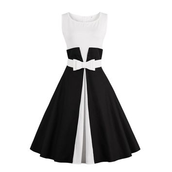 2017 New Summer Dress Sleeveless patchwork style 1950s Vintage Dress Black White Women Party Dress Feminino Rockabilly Vestidos