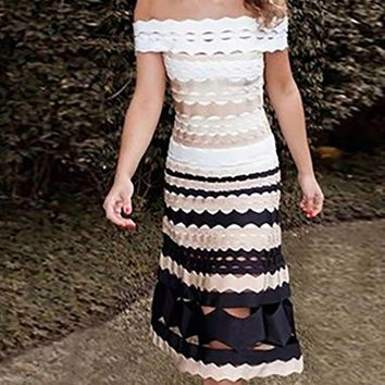 Love Me For Me White Beige Black Stripe Pattern Cap Sleeve Off The Shoulder Bodycon Bandage Casual Midi Dress