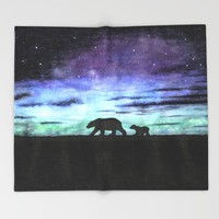 Aurora borealis and polar bears (black version) Throw Blanket by Savousepate