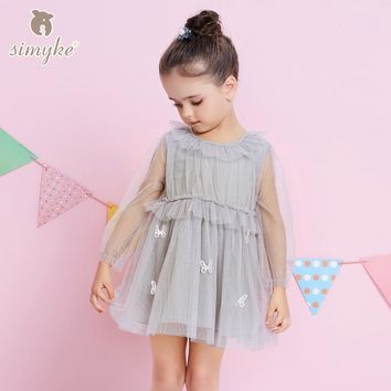 Simyke Kids Princess Dress For Girls 2017 New Spring Girl Long Sleeve Mesh Tutu Dresses Toddler Costume Child Clothes W8337