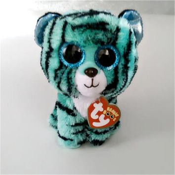 Ty Beanie Boos Kids Plush Toys Big Eyes Leona Blue Leopard Lovely Children's Christmas Gifts Kawaii Cute Stuffed Animals Dolls