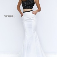 Black and Ivory Two Piece Sherri Hill Dress