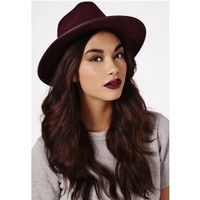 Missguided - Alaga Fedora In Burgundy