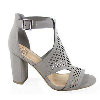 Delicious Inflows Womens Fashion Laser Cut Out Open Toe Buckle Chunky Heels Sandal Shoes