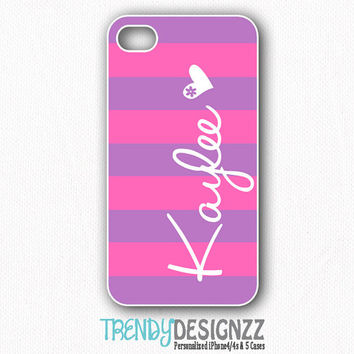 Personalized iPhone4 case, Samsung S3 S4, iPhone 4s case, iPhone5 case, iPhone cover, Pink Purple Stripe Personalized Case (1118)
