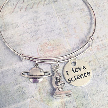 I Love Science Expandable Bracelet - Fits WRIST SIZE : 7.0 to 8.5 inches Science Jewelry - Chemistry Jewelry - Biology Jewelry