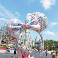 Pink Disney Castle // Deluxe Size  // Disney Park Inspired Printed Glitter Fabric Hair Bow // For Adults & Kids // BOW ONLY