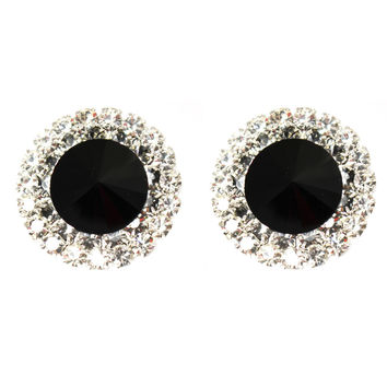 TIMELESS Vintage Large Onyx Crystal Stud Clip On Earrings