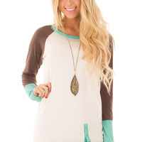 Ivory and Mint Sweater with Coco Sleeves