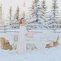 Long Sleeve Maternity gown /  Genevieve Maternity gown / Multi-layer Chiffon split front Maternity dress / Maternity Gown