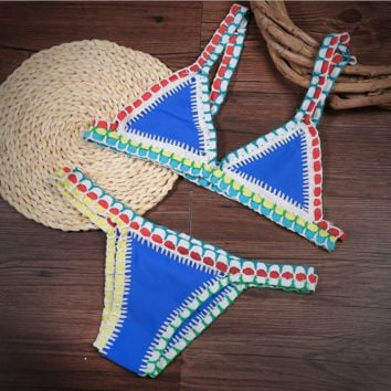 Sexy fashion new weave edge stitching line Three-point swimsuit two piece bikini