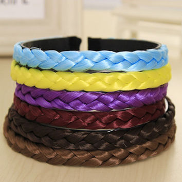 New Fashion Pure Color Weave Hair Collection Wig Loom Band Headband Hair Band for Women Headwear Hair Accessories