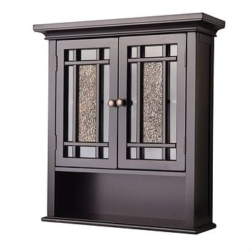 Espresso Bathroom Wall Cabinet with Amber Mosaic Glass Accents