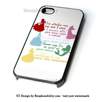 Disney Princesses Quotes Cover iPhone 4 4S 5 5S 5C 6 6 Plus , iPod 4 5  , Samsung Galaxy S3 S4 S5 Note 3 Note 4 , and HTC One X M7 M8 Case