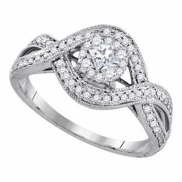 14kt White Gold Womens Princess Diamond Solitaire Twist Bridal Wedding Engagement Ring 1/2 Cttw