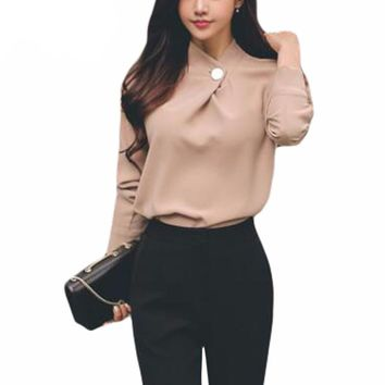 Long Sleeve Stand Collar Chiffon Shirt