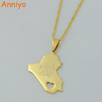 Anniyo Republic Of Iraq Map Pendant Necklace for Women/Men Gold Color With Allah Name Jewelry Map Of Iraq #005305