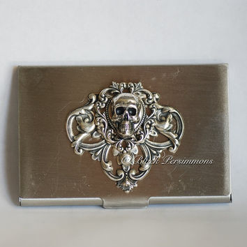 LAST ONE - Itzpapalotl Stainless Steel Business Card Case - Victorian Skull Goddess Warrior Satin Chrome Finish - Made in USA Stamping