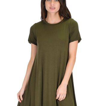 Lyss Loo Reporting For Cutie Olive T-Shirt Tunic Dress