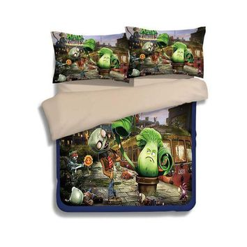 Cartoon Plants vs. Zombies print 3d bedding sets children kids 3/4pcs twin full queen king size anime duvet cover pillowcase