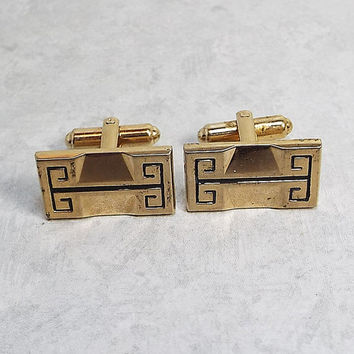 Vintage Cufflinks Gold Tone and Black Greek Design Hickok USA Signed Cuff Links Mens Formal Hipster Wedding Groom Best Man Gift