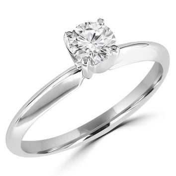 1/2 Carats Solitaire Diamond Engagement Ring GH/VS2-SI1 14K Yellow Gold or White Gold