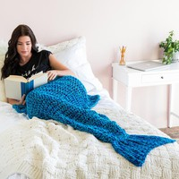 Knit Mermaid Tail Blanket