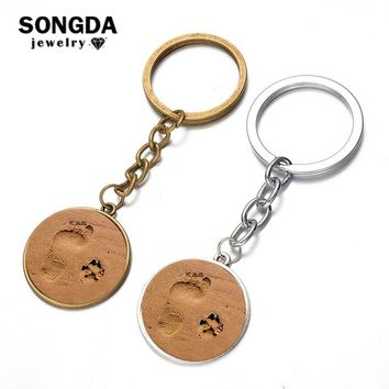 SONGDA Human Footprint and Pet Paw Badge Keychain Cute Dog Cat Human Friends Statement Key Ring Porte Clef Pet Memorial Jewelry