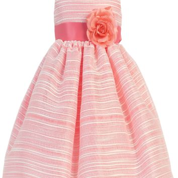 Coral Striped Organza Overlay Satin Spring Occasion Dress (Baby, Toddler & Girls Sizes)