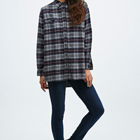 BDG Brenda Flannel Shirt in Grey and Burgundy - Urban Outfitters