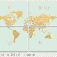 Oh the places you'll go - gold glitter nursery decor set of 4 prints, nursery world map poster, mint green gold nursery- INSTANT DOWNLOAD