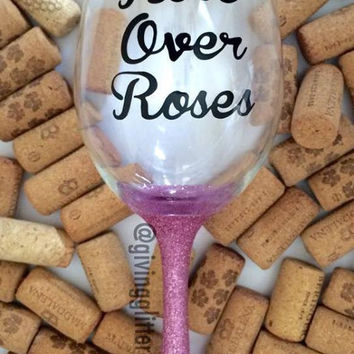 Rosé Over Roses // Glitter Wine Glass