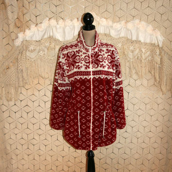 Plus Size Red and White Jacket Sweater Jacket Nordic Winter Print Women Swedish Grunge XL Size 16 Plus Size Clothing Womens Clothing