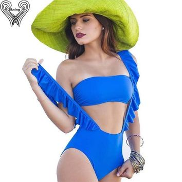 One Piece Bathing Suit 2 Piece Swimsuit 2018  Swimwear Push Up Bathing Suits Swim Wear Vintage Blue Swimming Suit Monokini Mayokini KO_9_1