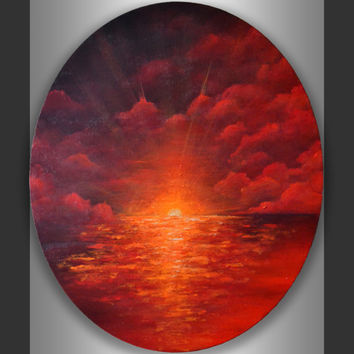 Original Contemporary Modern Wall Art Acrylic Abstract Seascape Painting on 24x20 Ready to hang Oval Canvas Artwork