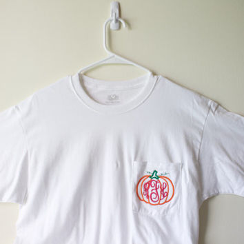 Pumpkin Monogram Pocket T-Shirt