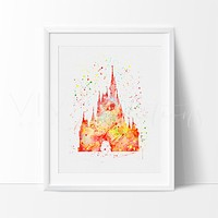 Cinderella Castle 3 Watercolor Art Print