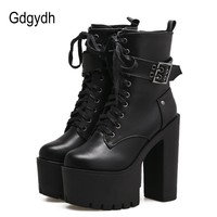 Gdgydh 2018 Ankle Boots For Women Platform Shoes Round Toe Autumn Boots Thick High Heels Lacing Buckle Black Punk Boots Women