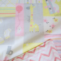 SALE - Baby Chicks, Flowers and Giraffes - Large Crib Quilt with Flannel Backing - Pink, Yellow, Gray