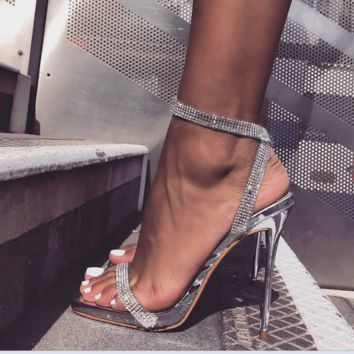 Hot style diamond chain sexy see-through strap high heel sandals