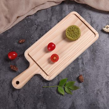 Eco Wooden Cutting Board Rectangle Chopping Board for Bread Cheese Sushi Pizza Kitchen Food Plate No Paint