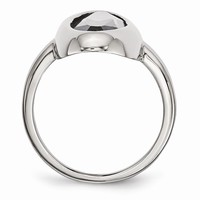 Stainless Steel Polished Glass Ring