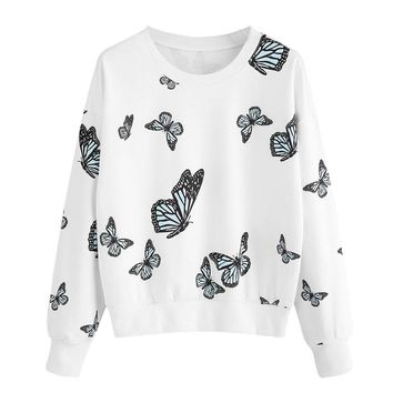 US New Pattern Design Autumn Women Butterfly Printing Long Sleeve Casual Sweatshirt For Female O-Neck Pullover Tops Blouse