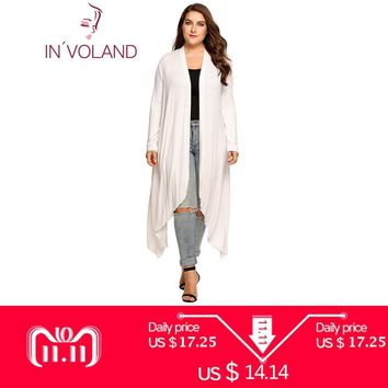 IN'VOLAND Women Cardigan Jacket Plus Size Autumn Open Front Solid Draped Lady Large Long Large