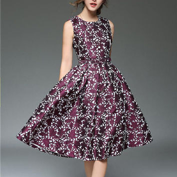 Purple Embroidered A Line Dress - Also Extended Sizes
